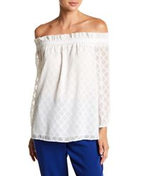 Cece by Cynthia Steffe - White Ruched Off-the-shoulder Diamond Clip Blouse - Lyst