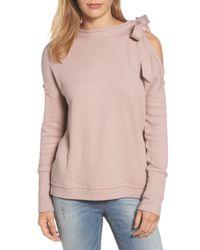 Caslon - Pink Caslon Tie Cold Shoulder Sweatshirt - Lyst