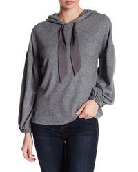 1.STATE - Gray Bishop Sleeve Hooded Sweatshirt - Lyst