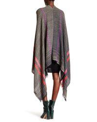 Saachi | Black Herringbone Pattern Wool Blend Wrap | Lyst