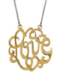Argento Vivo - Metallic 18k Yellow Gold & Rhodium Plated Sterling Silver Love Scroll Pendant Necklace - Lyst