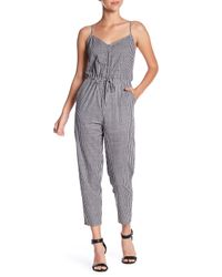 Honey Punch - Black Gingham Cropped Jumpsuit - Lyst
