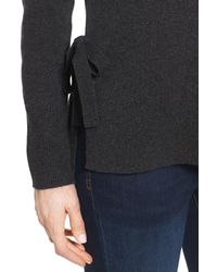 Halogen - Gray Side Tie Cashmere Sweater (regular & Petite) - Lyst