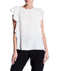 Cece by Cynthia Steffe - White Sleeveless Cascading Ruffle Textured Top - Lyst