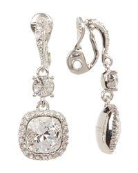 Givenchy - Multicolor Cushion Crystal Drop Clip-on Earrings - Lyst