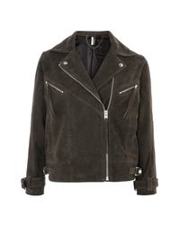 TOPSHOP - Gray Teddy Suede Biker Jacket - Lyst