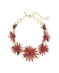 Oscar de la Renta - Red Resin & Crystal Floral Necklace - Lyst