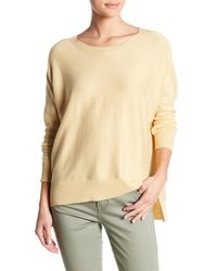 Eileen Fisher - Natural Boatneck Hi-lo Knit Sweater - Lyst