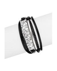 Saachi - Black Unpaved Bar Leather Bracelet - Lyst