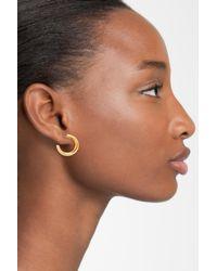 Nadri - Metallic Trinity Pave Hoop Earrings - Lyst