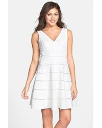 JS Collections | White 'ottoman' Sleeveless Fit & Flare Dress | Lyst