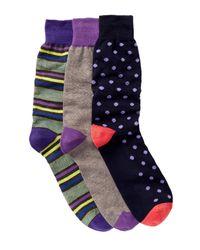 Lorenzo Uomo - Blue Assorted Crew Socks - Pack Of 3 - Lyst