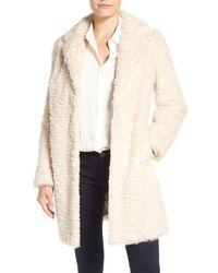 Eliza J - White Faux Fur Persian Lamb Inspired Coat - Lyst