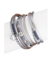 Saachi - Gray Grey Metallic Glory Wrap Leather Bracelet - Lyst
