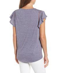 Caslon - Blue (r) Flutter Sleeve Crochet Detail Top (regular & Petite) - Lyst
