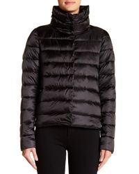 Save The Duck - Black Iridescent Quilted Coat - Lyst