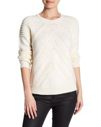 MILLY - White 3d Stitch Wool Sweater - Lyst