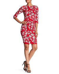 Tracy Reese - Red Floral Silk-blend Crepe Dress - Lyst