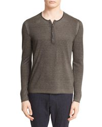 John Varvatos - Gray Silk & Cashmere Sweater for Men - Lyst