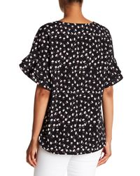 Pleione - Black Printed Double Ruffle Sleeve Top - Lyst