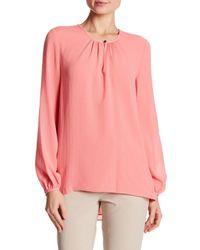 Ellen Tracy - Pink Shirred Neck Blouse - Lyst