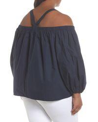 Soprano - Blue Cotton Poplin Off The Shoulder Top (plus Size) - Lyst