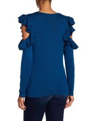 Cece by Cynthia Steffe - Blue Ruffled Cold Shoulder Tee - Lyst