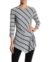 Vince Camuto | Gray 3/4 Sleeve Stripe Side Ruched Blouse | Lyst