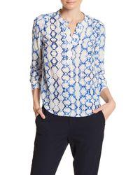 Rebecca Taylor | Blue Long Sleeve Silk Blouse | Lyst