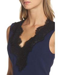 Charles Henry - Blue Lace Trim Sheath Dress - Lyst
