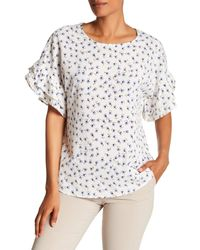 Pleione - White Printed Double Ruffle Sleeve Top - Lyst