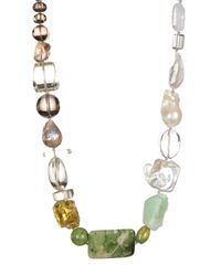 Stephen Dweck - Metallic Sterling Silver Freeform 13mm Freshwater Pearl & Topaz Station Necklace - Lyst