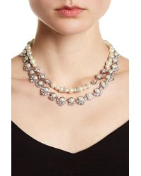 Givenchy - Metallic Silver-tone Crystal & Faux Pearl Double Row Collar Necklace - Lyst