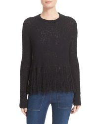 A.L.C. - Black Andreas Fringe Silk Blend Sweater - Lyst