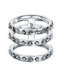 Karl Lagerfeld - Metallic Triple Stacked Ring - Size 8 - Lyst
