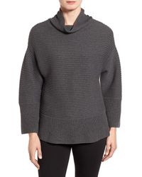 Vince Camuto | Gray Ribbed Funnel Neck Sweater (regular & Petite) | Lyst