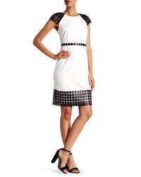 Laundry by Shelli Segal | White Sheer Cap Sleeve A-line Dress | Lyst