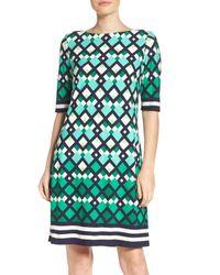 Eliza J Green Border Print Shift Dress