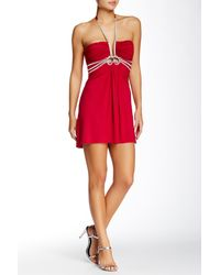 Sky - Red Odense Embellished Silk Print Dress - Lyst