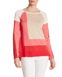 In Cashmere - Pink Colorblock Hi-lo Sweater - Lyst