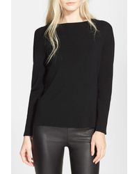 MILLY - Black Merino Wool Pullover - Lyst