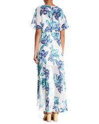 Lush - Blue Short Sleeve Print Hi-lo Dress - Lyst