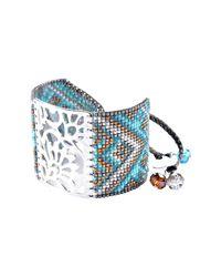 Mishky - Blue Blossom Beaded Cuff Bracelet - Lyst