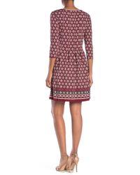Max Studio Red Border Print Wrap Dress
