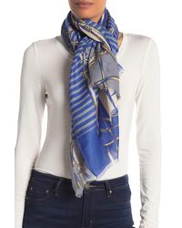 La Fiorentina Blue Stripe & Chain Frayed Scarf