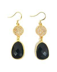 Charlene K - Black 14k Yellow Gold Plated Sterling Silver Onyx Double Drop Earrings - Lyst