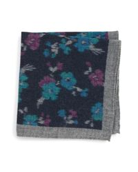 Ted Baker - Blue Floral Wool Pocket Square - Lyst