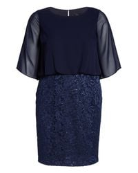 Alex Evenings - Blue Sequin Embroidered Blouson Sheath Dress - Lyst