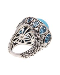 Stephen Dweck - Sterling Silver Turquoise & Blue Topaz Statement Ring - Size 7 - Lyst