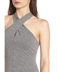 Pam & Gela - Gray Halter Neck Dress - Lyst